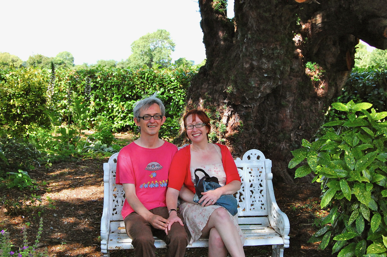 "Stephen and Jen at the ""Dean's Tree"" (Jonathan Swift sat on that bench!)"