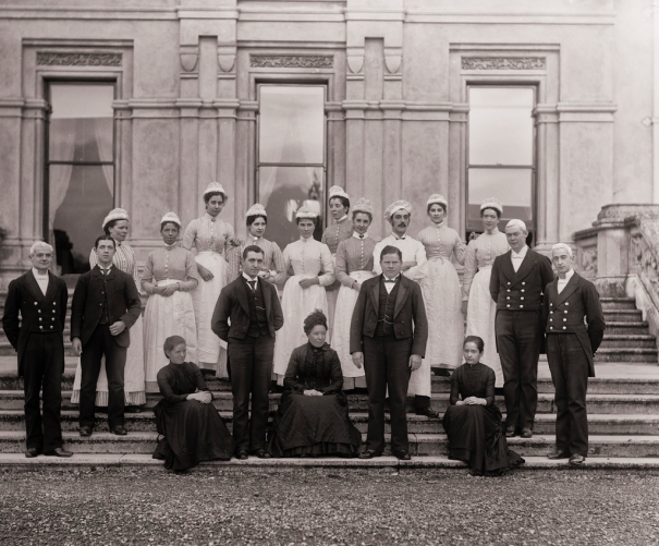 household staff of Curraghmore House, Portlaw, Co. Waterford, ca.1905, National Library of Ireland